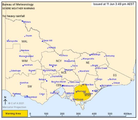 The latest severe weather warning for heavy rainfall issued by the Bureau of Meteorology