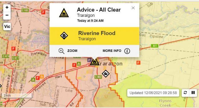 Flood evacuation warning for the Traralgon Creek area lifted